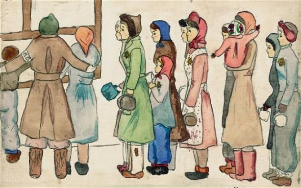 Dibujo de Helga Weiss incluido en 'Diario de Helga', editorial Sexto Piso.