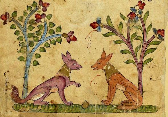 Una ilustración antigua del libro de cuentos de Calila y Dimna.