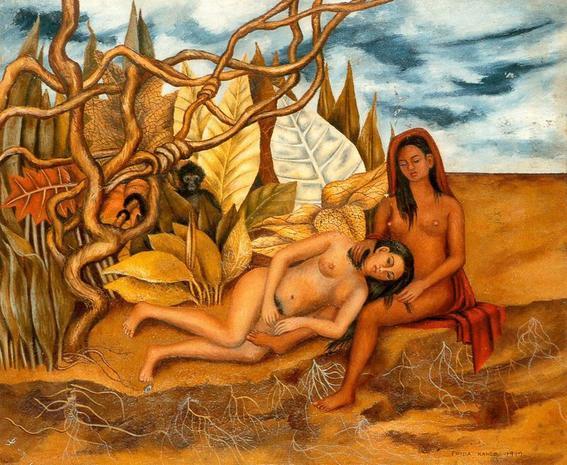 Dos mujeres en el bosque. Pintura de Frida Kahlo.