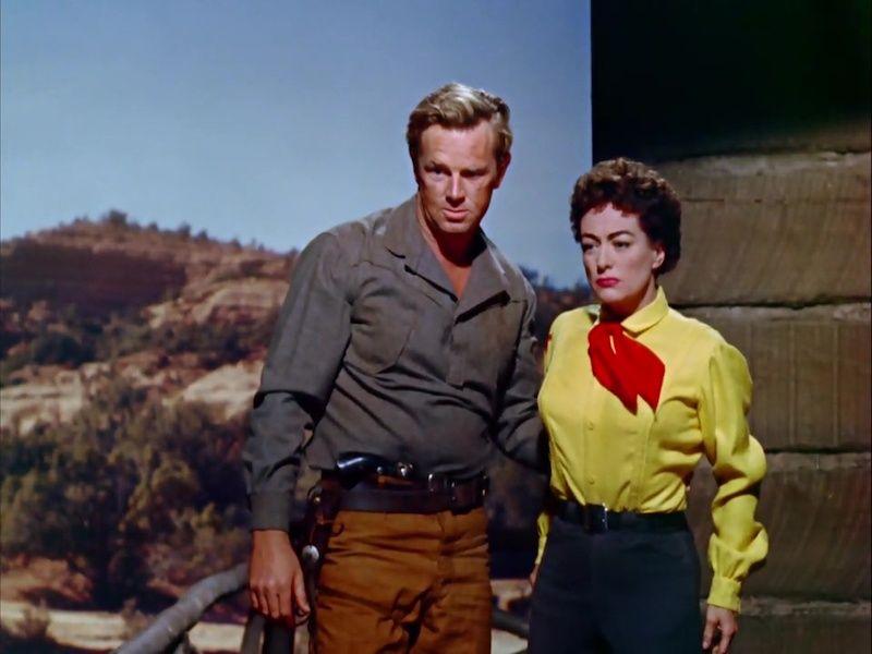 Sterling Hayden y Joan Crawford en un fotograma de Johnny Guitar.