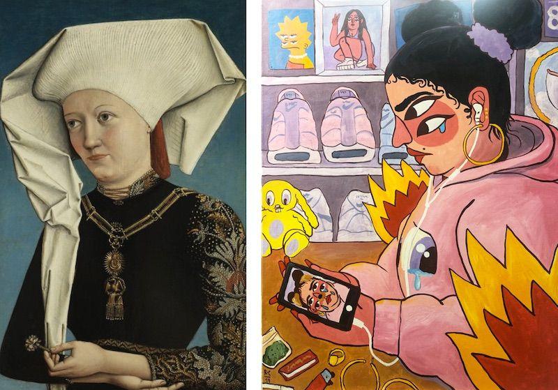 A la izquierda, 'Retrato de una dama con la Orden del Cisne'. Anónimo alemán de 1490, una de las obras del Museo Thyssen de Madrid. A la derecha, la interpretación del cuadro por el artista Ricardo Cavolo.
