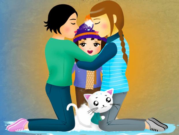 Una ilustración del libro 'Una familia calentita'.